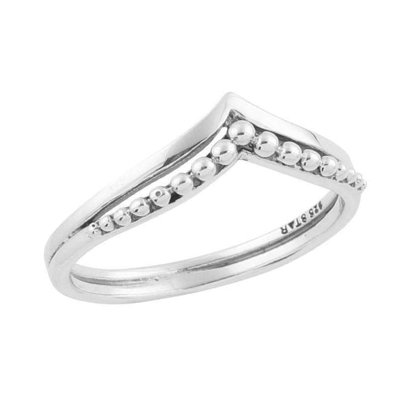 Beaded Crest Ring - Sterling Silver