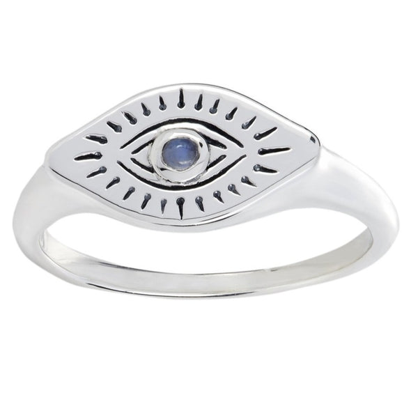 'All Seeing Eye' Rainbow Moonstone Ring - Sterling Silver