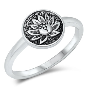 Detailed Lotus Ring - Sterling Silver