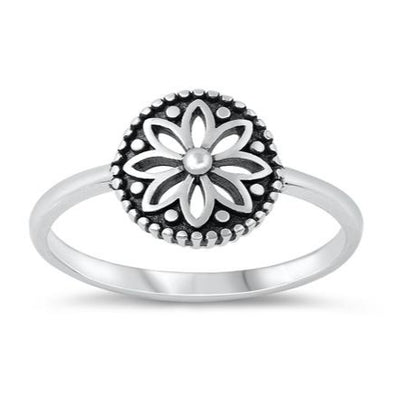 Flower Mandala Ring - Sterling Silver
