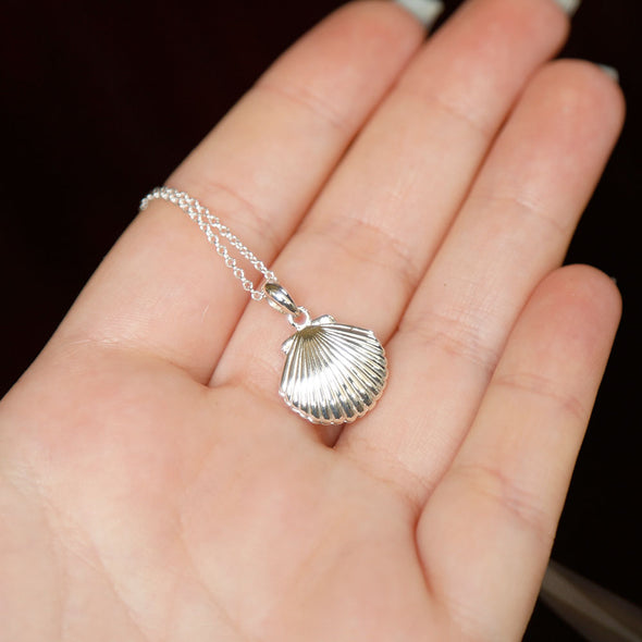 Seashell Locket Necklace - Sterling Silver