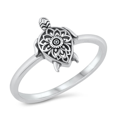 Mandala Turtle Ring - Sterling Silver