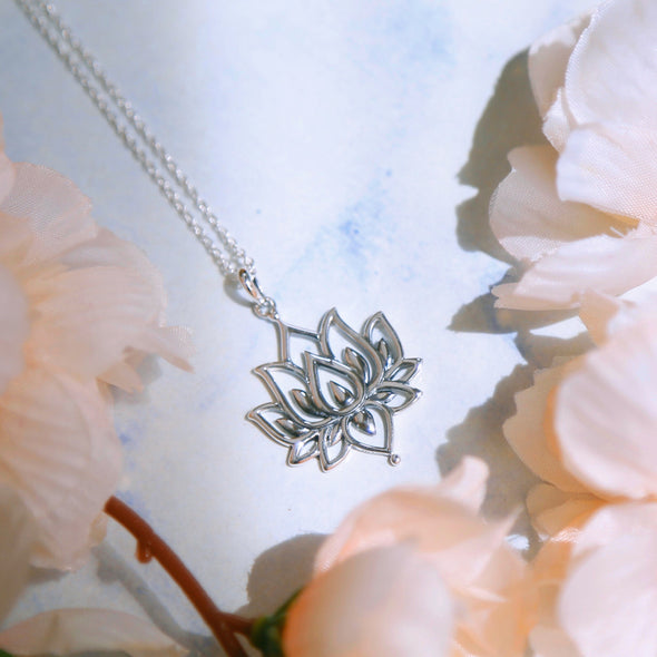 Blossoming Lotus Necklace - Sterling Silver