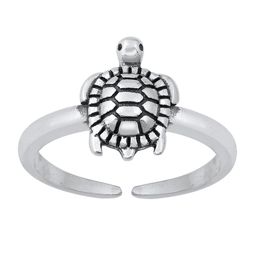 Turtle Adjustable Midi Ring - Sterling Silver