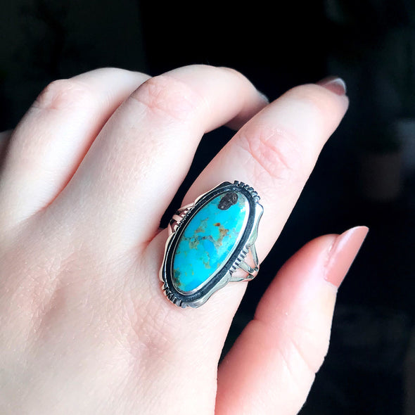 Turquoise 'River' Ring - Sterling Silver