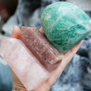 Rose Quartz, Strawberry Quartz & Green Fluorite