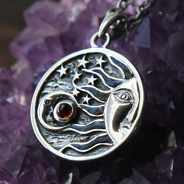LAST ONE - Red Garnet 'Eclipse' Necklace