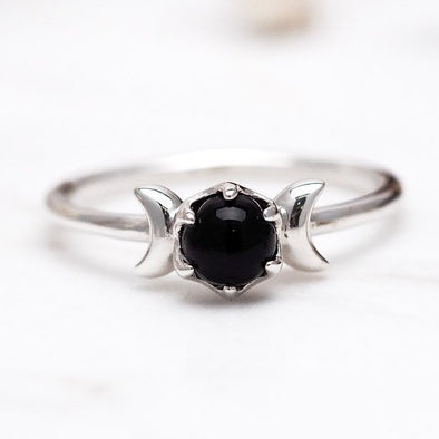 Lunar Onyx Ring - Sterling Silver