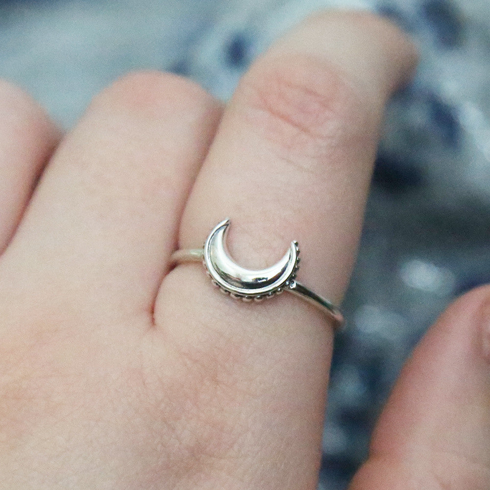 Decorated Moon Ring - Sterling Silver