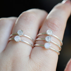 Rainbow Moonstone 'Raina' Ring - Sterling Silver