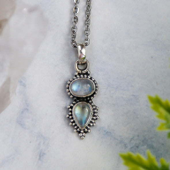 Iara Necklace - Rainbow Moonstone