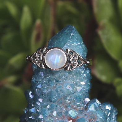 Rainbow Moonstone 'Alvilda' Ring - Sterling Silver