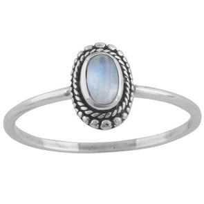 Rainbow Moonstone 'Vinyasa' Ring - Sterling Silver