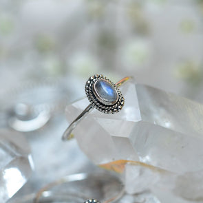 Sterling Silver Rainbow Moonstone Ring