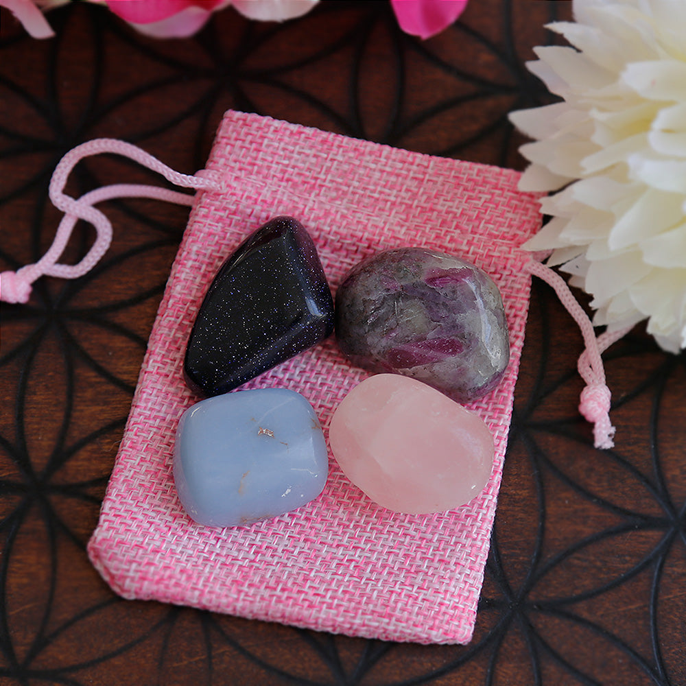 Blue Goldstone, Ruby Feldspar, Angelite & Rose Quartz - Tumble Stone Set