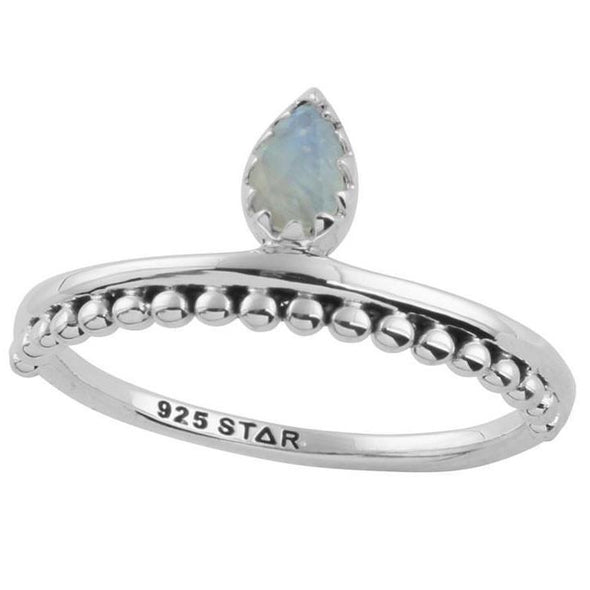 Rainbow Moonstone 'Drop In The Ocean' Ring - Sterling Silver