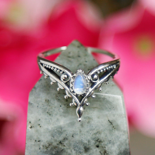 Rainbow Moonstone 'Microcosm' Ring - Sterling Silver