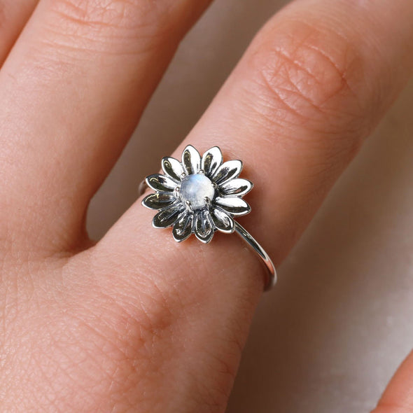 Sunflower Moonstone Ring - Sterling Silver