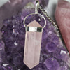 Sterling Silver Rose Quartz Pendant, Rose Quartz Necklace