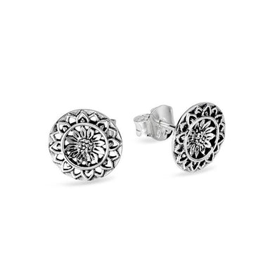 Sunflower Mantra Studs - Sterling Silver