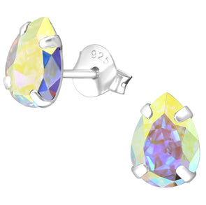 Rainbow Swarovski Crystal Earrings - Sterling Silver