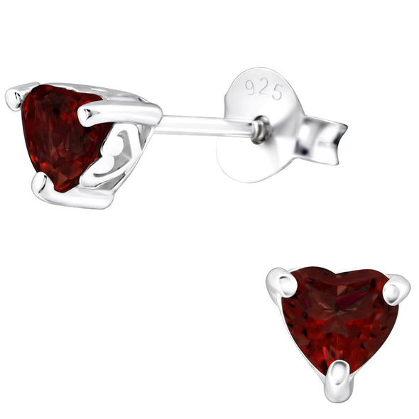Garnet Heart Earrings - Sterling Silver