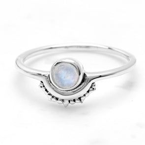 Rainbow Moonstone 'Emanate' Ring - Sterling Silver