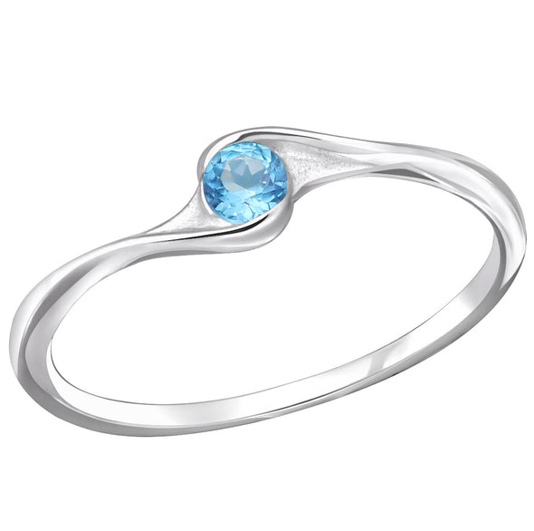 Blue CZ Ring - Sterling Silver