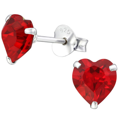 Red 'Valentine' Earrings - Sterling Silver
