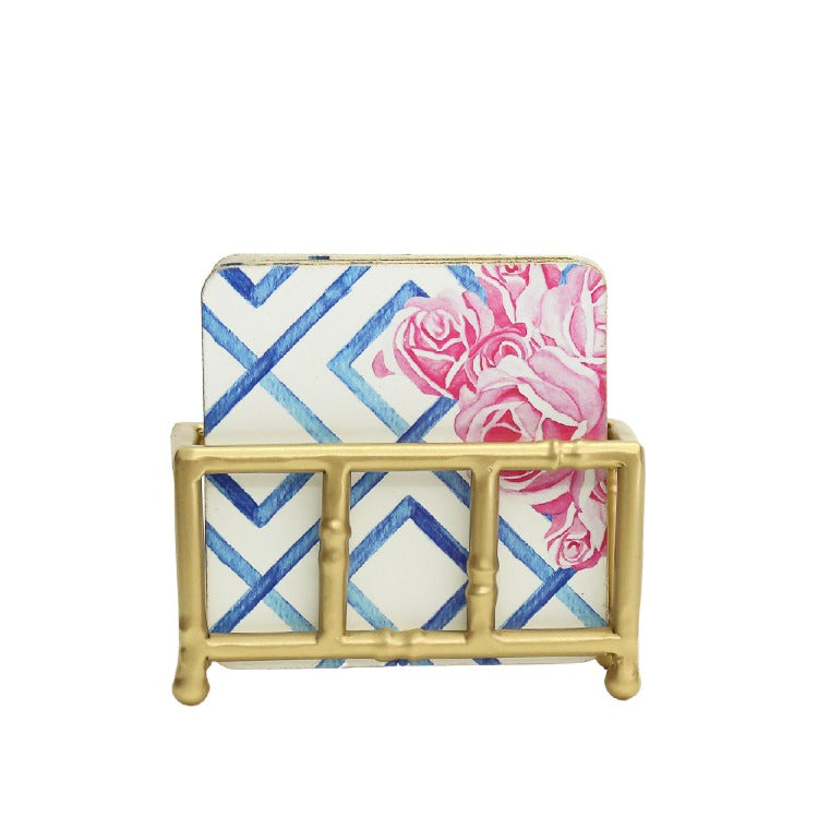Hampton's Coaster Set in Gold Bamboo Stand