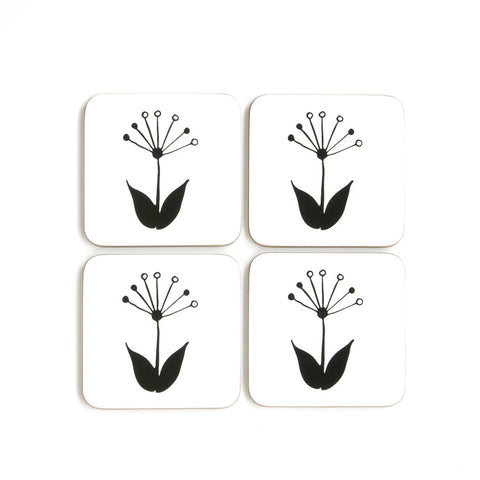Coasters Set of 4 - Cork Back - Spring Flower