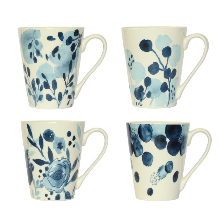 Sapphire Blue Conical Mugs - Set of 4