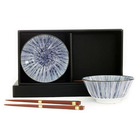 Japanese Bowls Set 2 - Blue Stripe