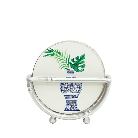 Chinoiserie Coaster Set in Silver Bamboo Stand