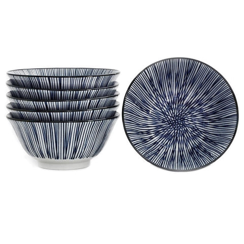 Japanese Bowls - Blue & White - Sold Separately Pin Stripe - Sold Separately