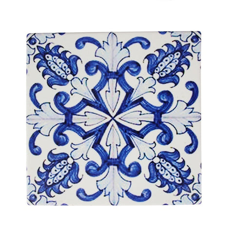 Portafino Ceramic Tile Trivet - Blue & White