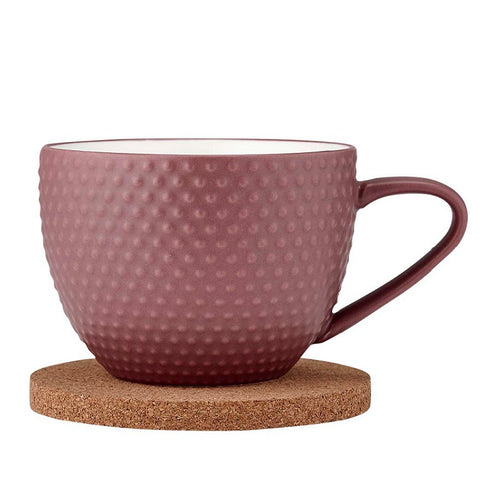 Ladelle Abode Textured Mug & Coaster Set - Dark Rose