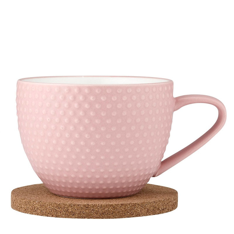 Ladelle Abode Textured Mug & Coaster Set - Pink Sand