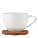 Ladelle Abode Textured Mug & Coaster Set - White