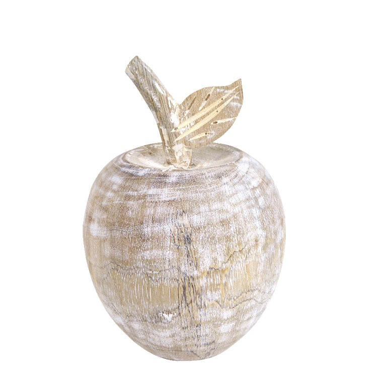 apple mango wood sculpture white washed