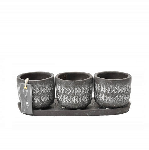Pots on Tray - Aztec Set of 3