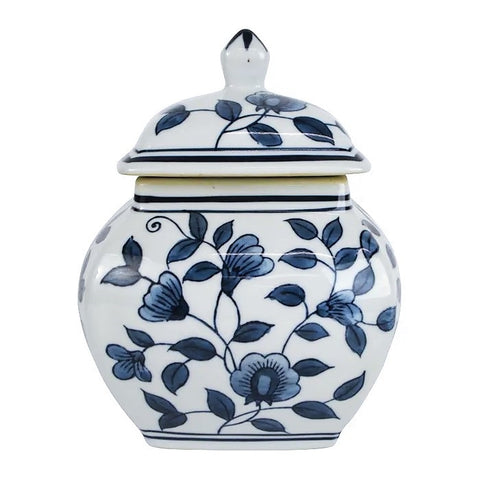 Greta Blue and White Ceramic Ginger JAr