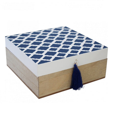 Storage Trinket Box - Square Blue Diamonds