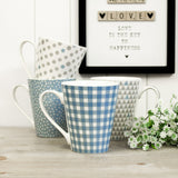 Serene Blue & White Conical Mugs - Set of 4