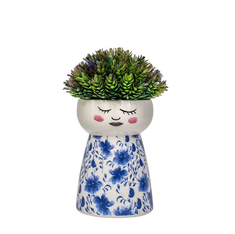 Ceramic Face Vase - Japanese Flo