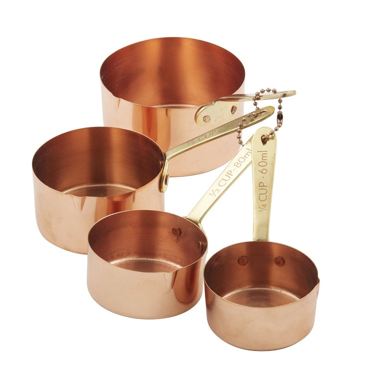 Copper Plated Measuring Cups with Brass Handles - set of 4
