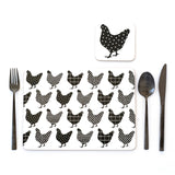 Placemat Set of 4 - Cork Back - Charming Chook