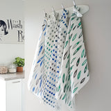cotton linen tea towel green