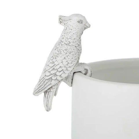 Ed Cockatoo Resin Pot Hanger White
