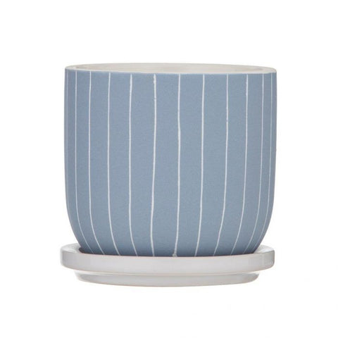 Esha Ceramic Pot with Saucer - Light Blue